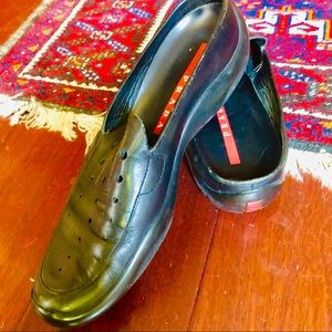 Prada loafer-mules black leather shoes